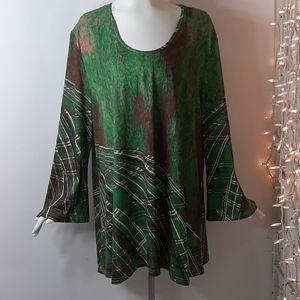 Plus 4X Azalea by Firmiana Green Tunic Top